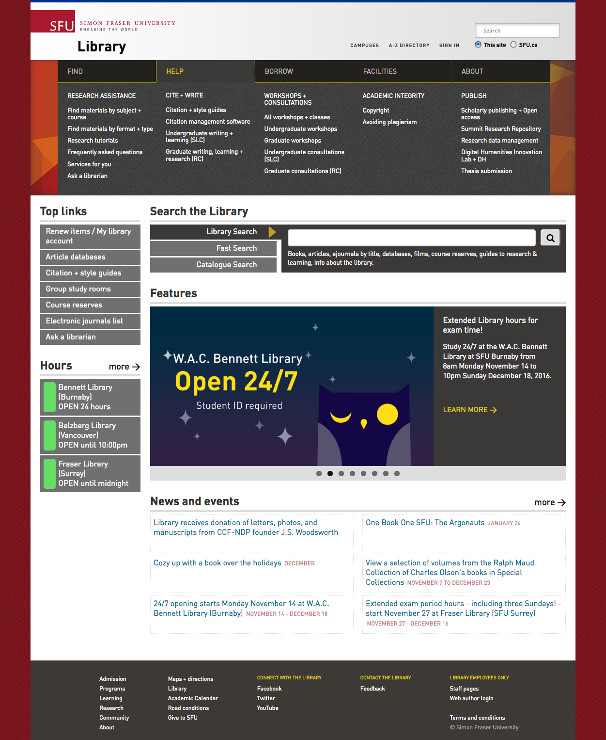 Simon Fraser University Library Main Page - Menu Expanded