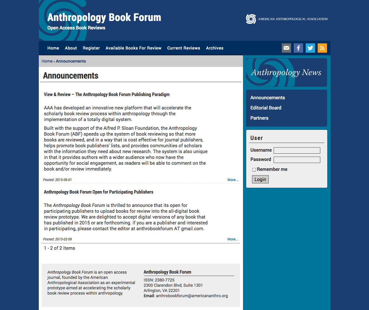 Anthropology Book Forum