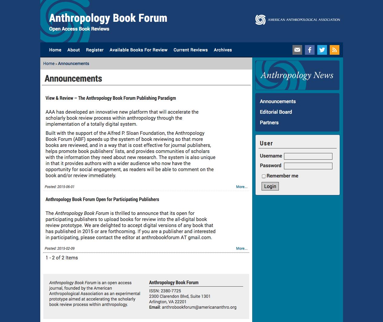 Anthropology Book Forum